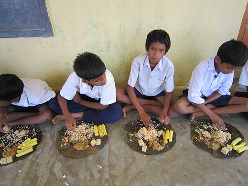 Food distribution at school in vijayaramapuram village for Andhra pradesh cuisine