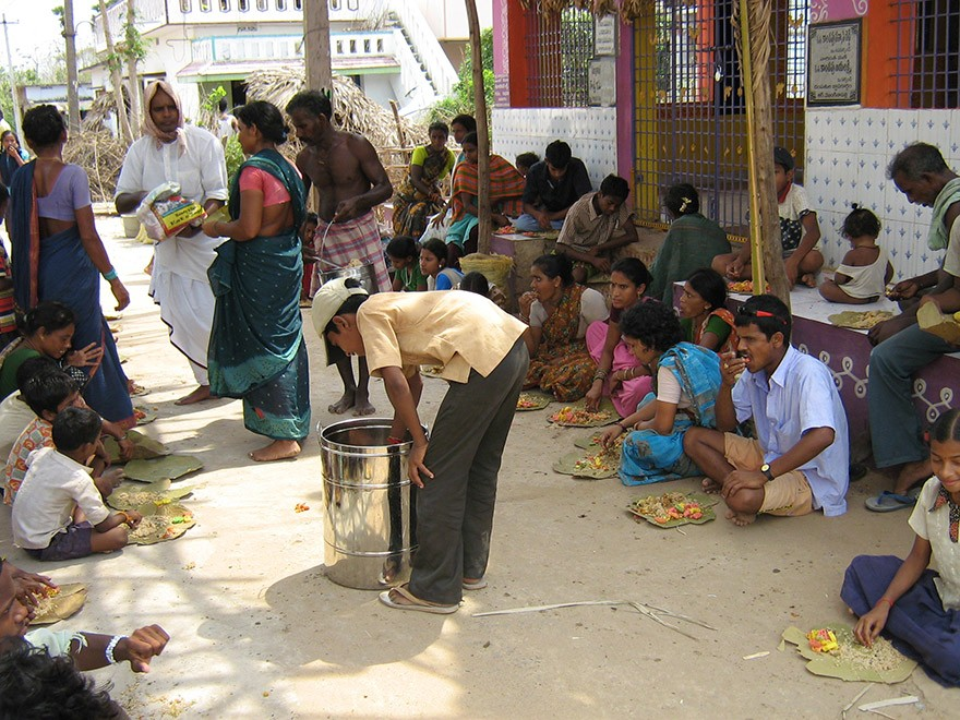 Food Distribution at School in Vijayaramapuram Village